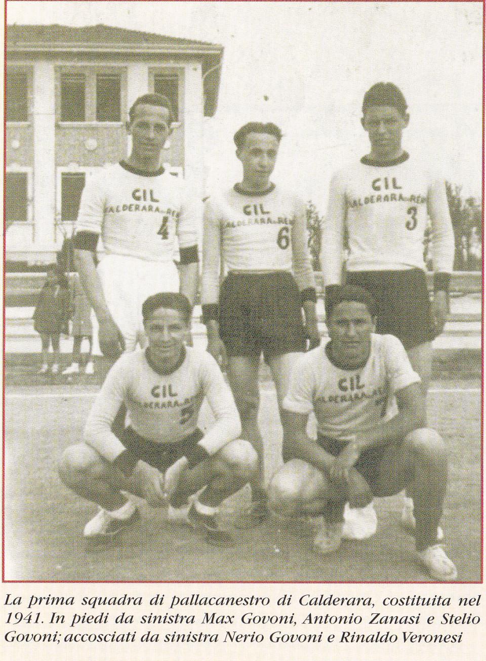 La prima squadra di Pallacanestro di Calderara