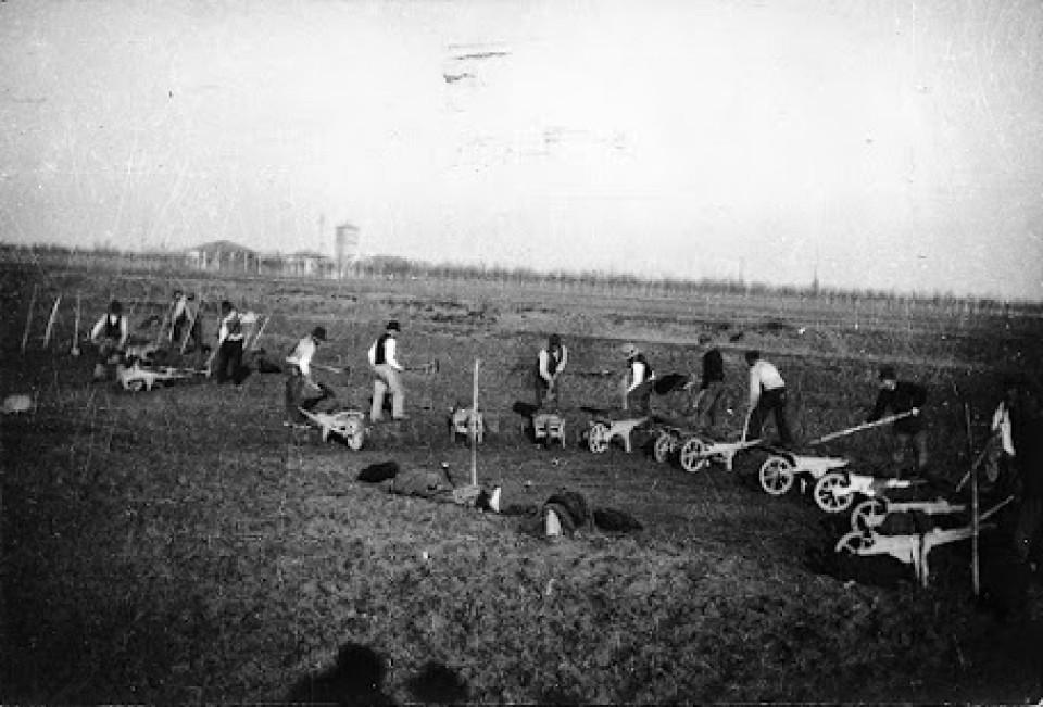 Costruzione della Strada dei Prati tra Calderara e Padulle, 16 gennaio 1931