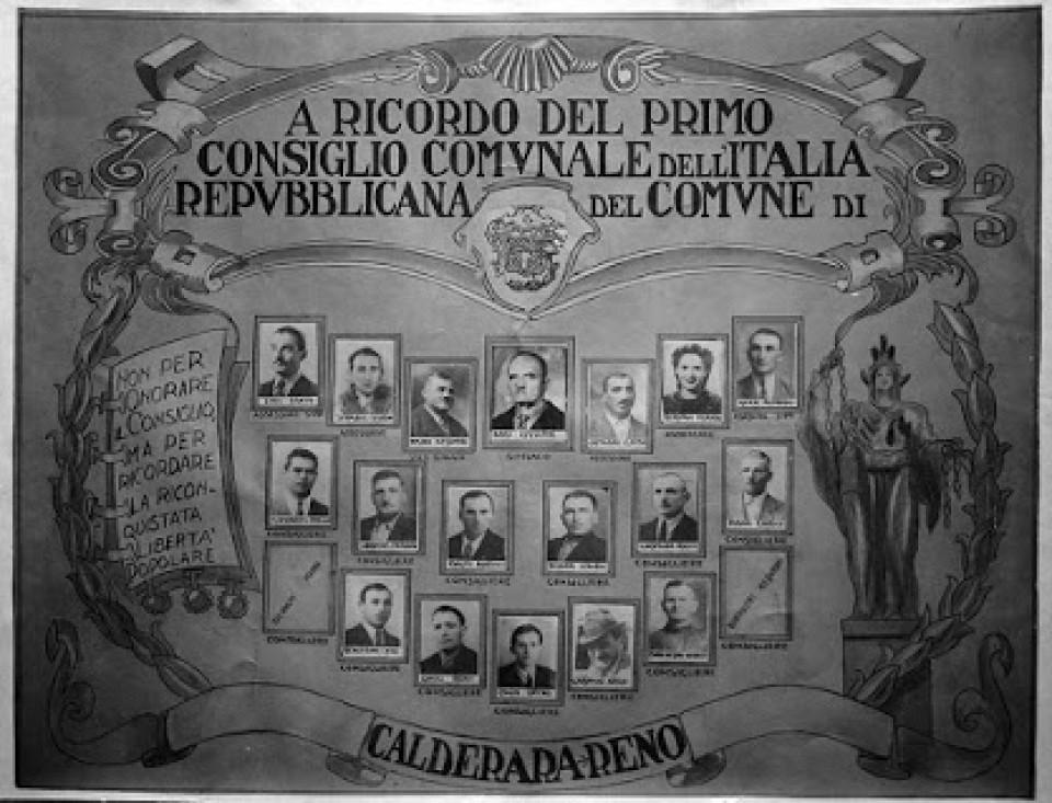Primo Consiglio Comunale di Calderara nel dopoguerra, 1946